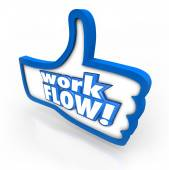 Work Flow words on a blue thumbs up symbol — Foto Stock