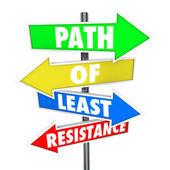 Path of Least Resistance Words on colored arrow signs — Stock Photo
