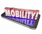 Mobility word in red 3d letters on a mobile or cell phone — Stock Photo