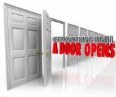 Keep Knocking Until a Door Opens 3d words — Stock Photo