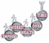 Compound Interest Wealth Over Time words on clocks — Stock Photo