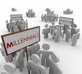 Generation X, Y and Millenials gathered around signs — Stock Photo