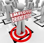 Employee Orientation words on a new worker — Stock Photo