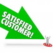 Satisfied Customer words on a green arrow — Stock Photo