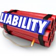 Liability word in blue 3d letters on red sticks of dynamite — Stock Photo #66031665