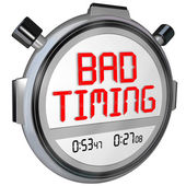 Bad Timing words on a stopwatch or timer — Stock Photo