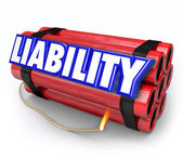 Liability word in blue 3d letters on red sticks of dynamite — Stock Photo