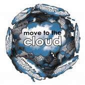 Move to the Cloud words in thought clouds — Stockfoto