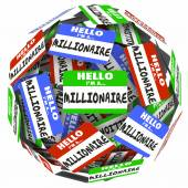 Hello I'm a Millionaire words on nametag stickers — Stock Photo