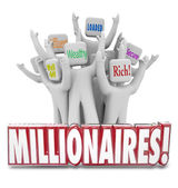 Millionaires 3d word in front of people with terms like wealthy — Stock Photo