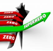 Superhero word on a green arrow rising above opposite Zero arrows falling — Stock Photo