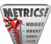 Metrics word on a thermometer or gauge measuring performance or results — Stock Photo