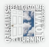 Repeat Customer words over an open door — Stock Photo