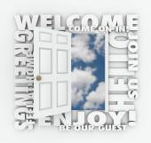 Welcome words around an open door — Stock Photo