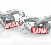 Weak Link words on broken chain links — Stockfoto