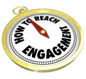 How to Reach Engagement words on a gold compass — Stock Photo
