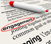 Engagement word circled in a dictionary definition — Stock Photo