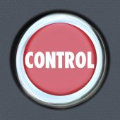 Control word on red car start or ignition button — Stock Photo