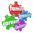 Family, Career, Community and Leisure words on four gears — Stock Photo #67942363