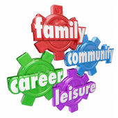 Family, Career, Community and Leisure words on four gears — Stock Photo