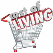 Cost of Living 3d words in a shopping cart — Stock Photo
