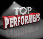 Top Performers words in 3d red letters on stage — Stock Photo