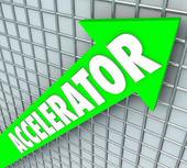Accelerator word on a green arrow rising — Stock Photo