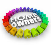 Home Owners words in white 3d letters surrounded by many houses — Stock Photo