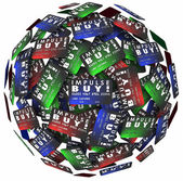 Impulse Buy words on credit cards in a ball — Stock Photo