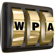 WPA letters on gold lock dials — Stock Photo #68326557