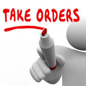 Taking Orders words written by man with a red marker — Stock Photo