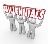 Millennials word in red 3d letters lifted by three young people — Stock Photo
