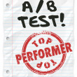 A B Test words written on lined school paper — Stock Photo #68424349