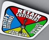 Retain, Serve, Satisfy and Acquire Customers words on a board game spinner — Stock Photo