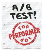 A B Test words written on lined school paper — Stock Photo
