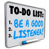 Be a Good Listener words written on a to do list on dry erase board — Stockfoto