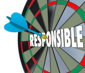 Responsible word on a dart board — Stock Photo