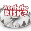 Worth the Risk red 3d words on a steel bear trap — Stock Photo #68735381