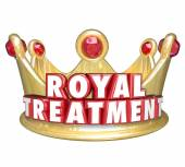 Royal Treatment words in red 3d letters on a gold crown — Stock Photo