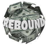 Rebound word in 3d letters on a ball or sphere of cash — Stock Photo
