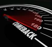 Comeback word on a speedometer — Stock Photo