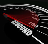 Rebound word on a speedometer — Stock Photo