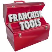Franchise Tools words in a red metal toolbox — Stock Photo