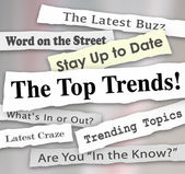 The Top Trends words in newspaper headlines — Stock Photo