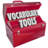Vocabulary Tools 3d words in a red metal toolbox — Stock Photo