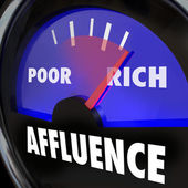 Affluence word on a gauge — Stock Photo