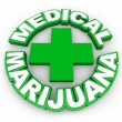 Medical Marijuana in green words around a plus sign — Stock Photo #69810619