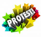 Protest word in white 3d letters — Stock Photo