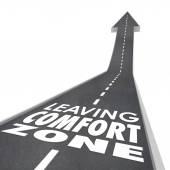 Leaving Comfort Zone words on a 3d road — Stock Photo