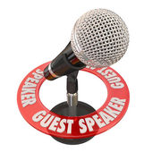 Guest Speaker words in a ring around a microphone — Stock Photo